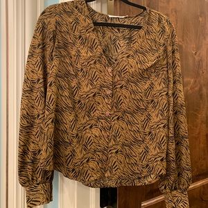 Nordstrom zebra print brown top